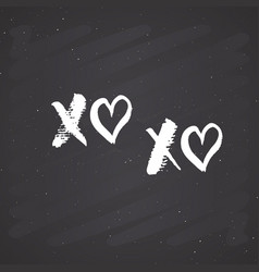 xoxo brush lettering sign grunge calligraphiv c vector image