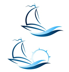 Yacht on the waves vector image
