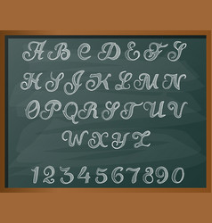 alphabet drawing with chalk on chalkboard vector image