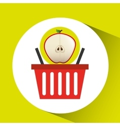 basket market sweet apple icon design vector image