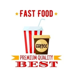 Coffe soda drink fast food isolated icon vector image vector image