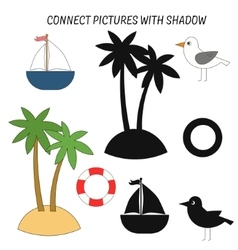 Educational game connect with shadows vector image