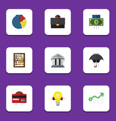 Flat icon gain set of payment bank graph and vector