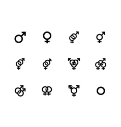 Gender identities icons on white background vector image