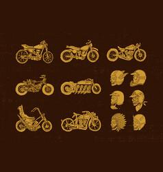 handrawn vintage motorcycle and helmet skull biker vector image vector image