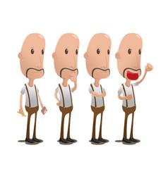 oldman cartoon character collection set vector image