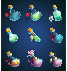 Set alchemical cartoon bottles vector image vector image