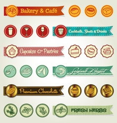 Set of ribbons and icons vector image vector image