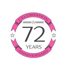 Seventy two years anniversary celebration logo vector