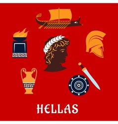 Traditional symbols of Greece in flat style vector image