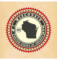 Vintage label-sticker cards of Wisconsin vector image