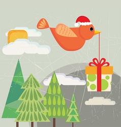 bird carrying gift box vector image vector image