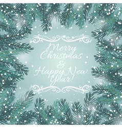 Greeting card with Christmas tree and snowflakes vector image vector image