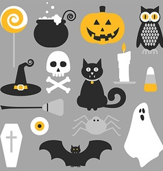 Halloween flat icons design vector image