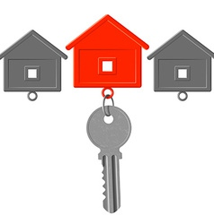 key to the lock and key chain in the form of house vector image vector image
