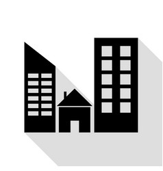 real estate sign black icon with flat style vector image