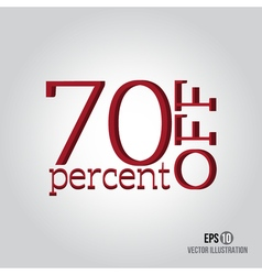 Red 70 sale Price off icon with 70 percent vector image