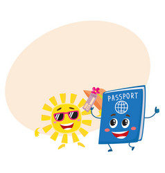 sun and passport characters holiday summer vector image vector image