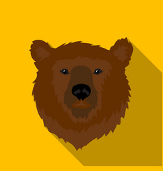 brown bear muzzle icon in flat style isolated on vector image