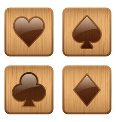 Casino wooden square icon card suits vector