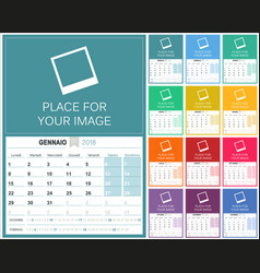 italian calendar 2018 vector image vector image