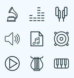 Multimedia icons line style set with soundtrack vector