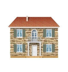 Old country house with a stone wall vector image