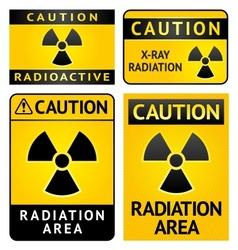 Radiation hazard stickers four labels vector image vector image