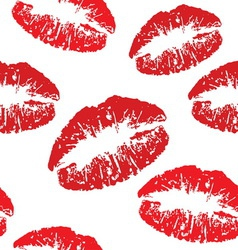 Red kiss print pattern vector image vector image