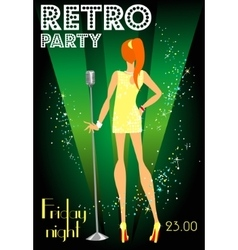 Retro party invitation design with sample text vector image vector image