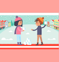 boy and girl snowball fight vector image