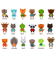 chameleon and moose leopard cartoon baby animals vector image