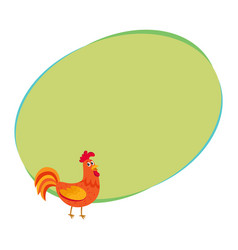 cute and funny colorful farm rooster chicken vector image