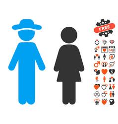 Gentleman and lady icon with valentine bonus vector