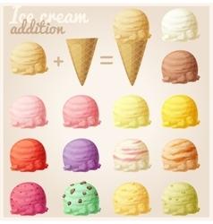 Set of cartoon ice cream icons vector image vector image