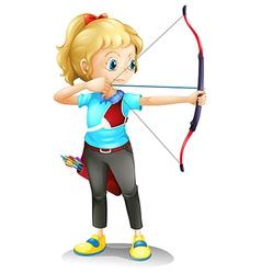 A girl with bow and arrow vector