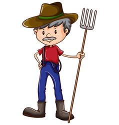 A sketch of a farmer vector image