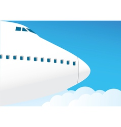 Airplane flies in the sky vector image