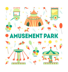 amusement park banner template with carousels and vector image