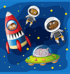 animals exploring the space vector image
