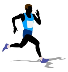 Athlete on running race silhouettes vector image