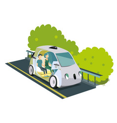 autonomous smart car colorful poster vector image