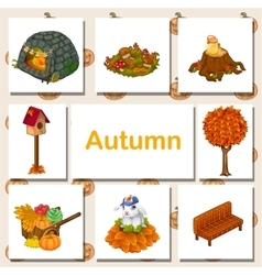 Autumn icons set different symbols vector image