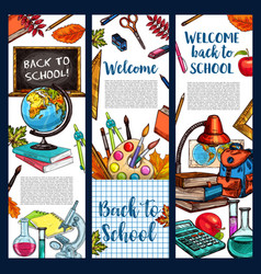 back to school sketch stationery banners vector image