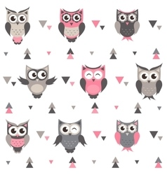 Background with owls owlets and triangles vector