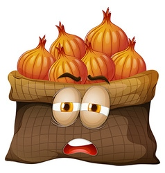 Bag of onions with face vector