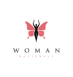 beauty woman silhouette with flying butterfly vector image
