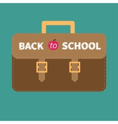 Big brown schoolbag briefcase Flat design style vector image