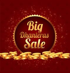Big dhanteras sale festival banner with golden vector