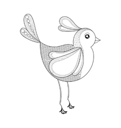 Bird Coloring page with zentangled bird vector image